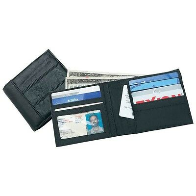 New Mens BLACK Solid Genuine Bifold LEATHER WALLET Billfold Credit Card ID Photo