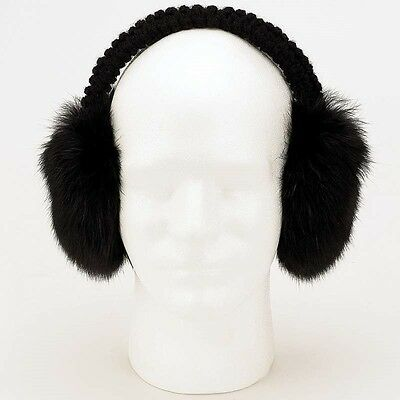 New Soft Black Rabbit Fur EARMUFFS Womens Warm Winter Ear Muff Muffs Warmers
