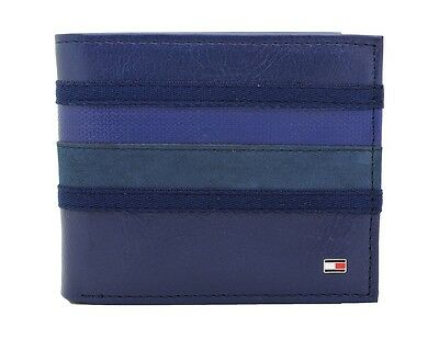 New Tommy Hilfiger Cobalt Blue Leather Double Billfold Credit Card Men's Wallet
