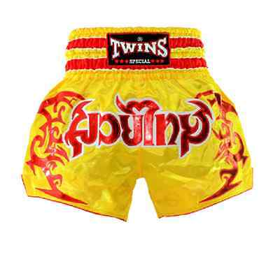 TWINS SPECIAL MUAY THAI SHORTS YELLOW MED, LG, XL, XXL Kick Boxing