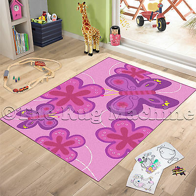 BUTTERFLIES PINK KIDS FUN PLAY RUG 100x130cm NON-SLIP & WASHABLE **NEW**