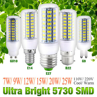 E27 E14 B22 G10 G9 5730 SMD 7/9/12/15/20/25W High Bright 220V LED Corn Bulb Lamp