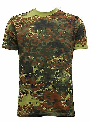 New Combat Military German Army Style Flecktarn Camouflage  T-Shirt Top Xs- 3Xl