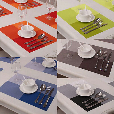 Set of 4 PVC Insulation Vintage Plaid Placemat Dining Table Mats Pad Coaster New