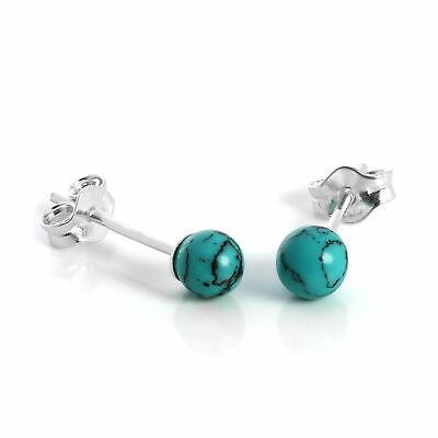 925 Sterling Silver & 4mm Turquoise Stone Stud Earrings Studs