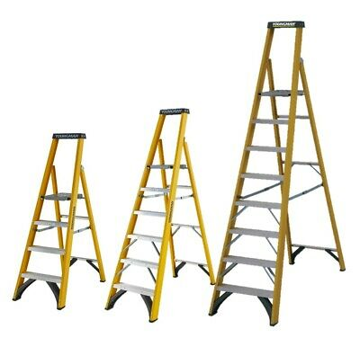 Electricians Platform 4 6 8 Tread EN131 Fibreglass Fibre Glass Step Ladder 30000