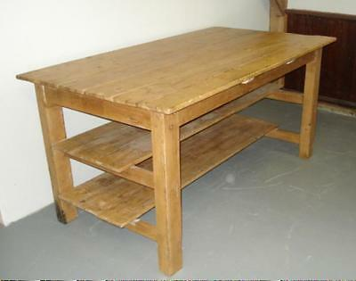 1800s COUNTRY PINE TABLE Work Island Harvest Table PEGGED & TIGHT Farm Table