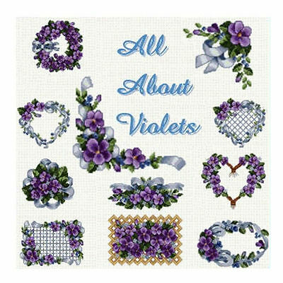 """ABC Designs All About Violets Machine Embroidery Set in Cross Stitch 5""""x7"""" hoop"""