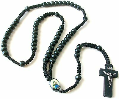 Black Wood Prayer Beads Rosary Wooden Cross Christian Necklace