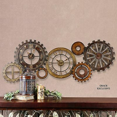 """54"""" Antiqued Metal Wall Clock Collage Three Clocks In One Gear Style Vintage"""