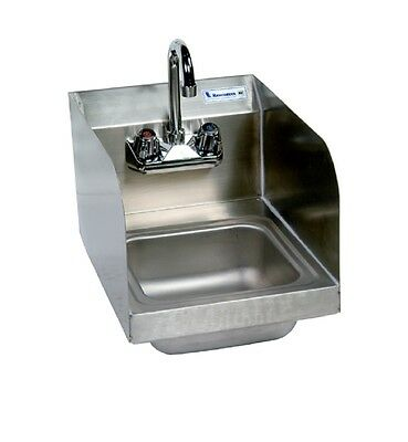 """9"""" x 9"""" Stainless Steel Space Saver Hand Sink w Faucet BK-BKHS-W-SS-SS-P-G"""
