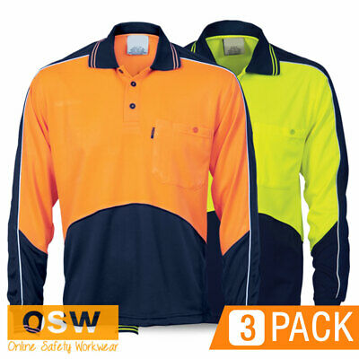 3 X Hi Vis Cool Dry Breathable Tradies Builder Micromesh Long Sleeve Polo Shirts