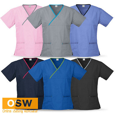 Ladies Crossover Hospital Medical Nursing Dental Comfort Fit Scrub Top Shirts