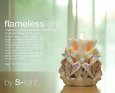 Flameless LED but REAL Artistic Hand Carved Candle / Free Remote