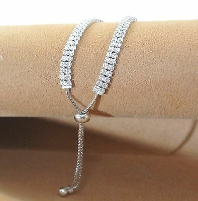 Double Row Tennis/lariat Bracelet, Lab Created Diamonds In Silver 5mm Wide