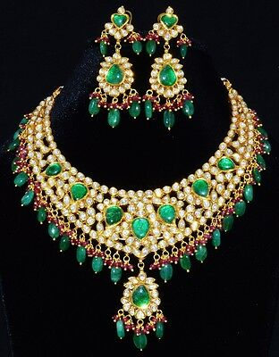 Estate Mogul Ruby Emerald Diamond Enamel 22K 18K Solid Gold Necklace Earring Set