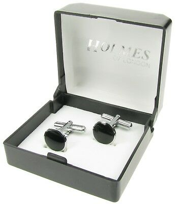 Black Silver Tuxedo Mens Shirt Cuff Links Wedding Cufflinks Giftbox New Uk Xmas