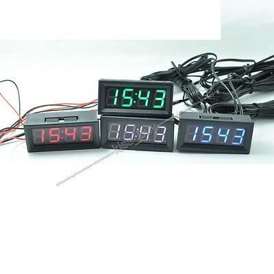 Digital Electronic clock + temperature + voltage LED 12V 24V 36v 48v Car Time