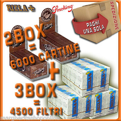 6000 CARTINE Smoking BROWN CORTE=2box + 4500 FILTRI 6MM RIZLA SLIM= 3 box