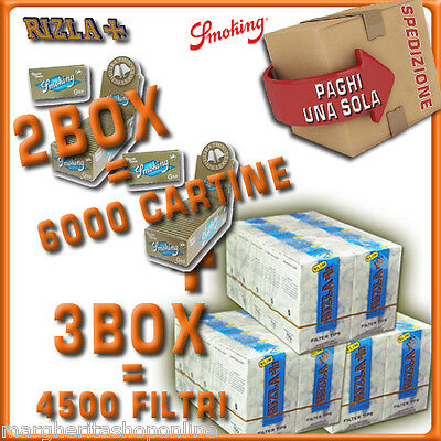 Cartine SMOKING ORO CORTE DOPPIE=2 BOX + 4500 Filtri RIZLA SLIM 6mm= 3 BOX