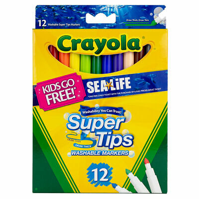 Crayola Supertips Bright Washable Lavable Markers - Pack of 12 Felt Tips Pens