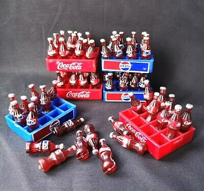 Lot 6 coca cola coke pepsi  dollhouse miniature soda bottle tray food soft drink