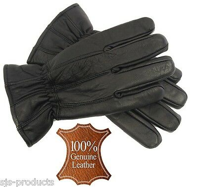 Mens Genuine Black LEATHER GLOVES Fully Thinsulate Lined Warm Winter Soft NEW
