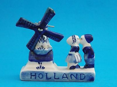 Vintage Delft Blue Holland Handpainted Boy And Girl Kissing At Windmill Figurine