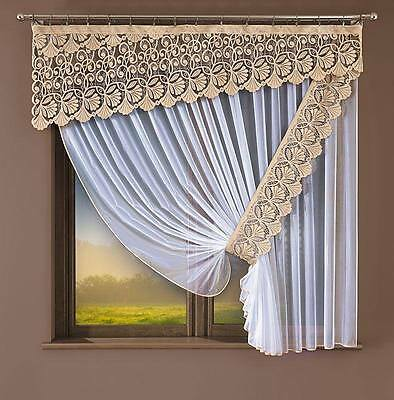 Ornamental Set Of Net Curtains With Pelmet - Ready Made