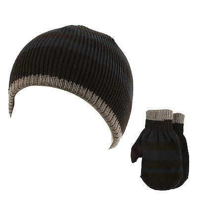 883a9ad0345 Winter 2pc Stripe Soft Baby Boys Age 0-2 Knit Beanie Hat Mitten Gloves Set
