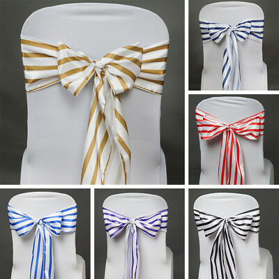 100 SATIN Stripes CHAIR SASHES Ties Bows Wedding Party Ceremony Decorations