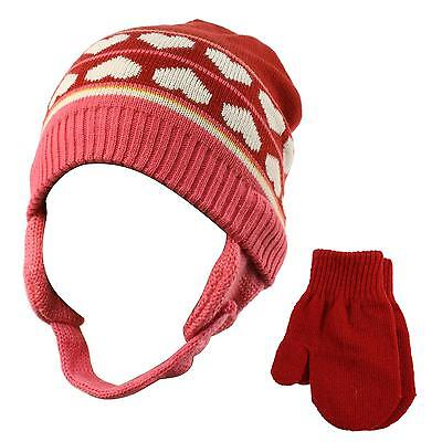 Winter 2pc Girls Age 0-2 Soft Baby Knit Beanie Earflap Hat Mitten Gloves Set Red