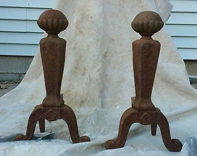"Antique Cast Iron Andirons Fireplace Decor Jewel 1118 19"" Tall  Lot 15-67-20"