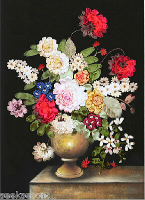 Ribbon Embroidery Kit Vintage Vase and Beautiful Flowers Floral XZ1002
