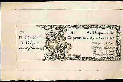 Italy. Finanze Torino. 50 Lire, 1-1-1765. Almost Uncirculated.