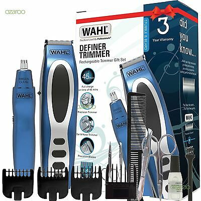 Mens Wahl Rechargeable Beard Stubble Ear Nose Trimmer Gift Set Blue 5598-1517