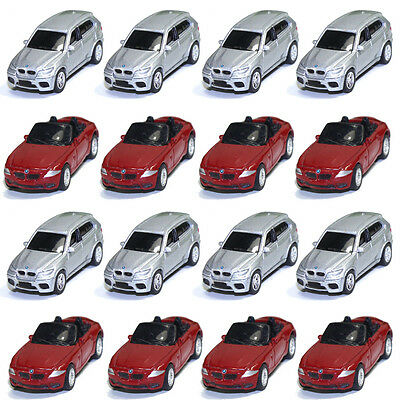 16PCS Model Cars BWM 1:100 TT HO Scale for Building Railway Train Scenery