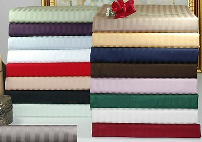 Striped 4-Piece 100% Cotton Sateen Bed Sheet Set 400-Thread-Count