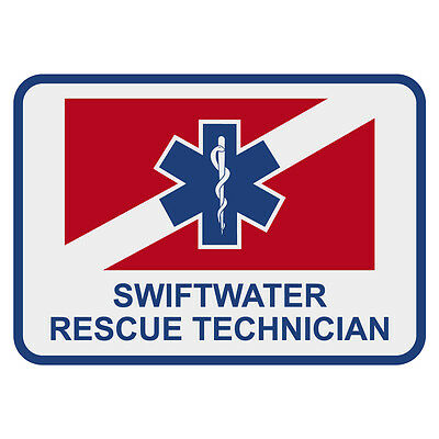 "Swiftwater Rescue Technician 3"" Rectangular Reflective Decal Sticker"