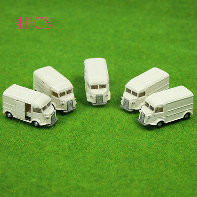 4PCS Light Yellow Business Cars Model 1:100 TT HO Scale for Model Train Layout