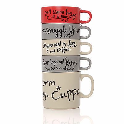 Set Of 5 Large Stacking Tea Coffee Latte Hot Chocolate Drinks Cups Mugs Gift