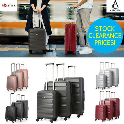 CLEARANCE ABS Hard Shell Black Cabin Hand & Hold Luggage Travel Case Suitcase