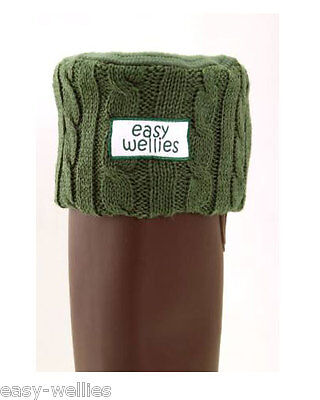 Green Knitted Cuff Welly Warmers Or Wellington Boot Socks