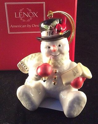Lenox 2014 Making a List for Santa Snowman Ornament Dated New In Box