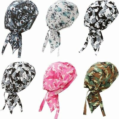 6pc CAMO SKULL CAP Cotton Biker Motorcycle Bandana Head Wrap Du Doo Do Rag Rags