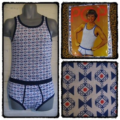 Mens Xs Vintage 1970S Disco Y-Fronts Pants & Vest Twin Set Northern Soul