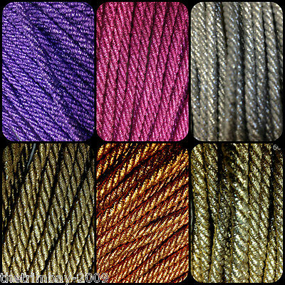 Twisted Lurex 8 mm Cord Choose From Several Colours
