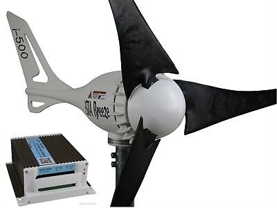 Set Windgenerator 12V/500W + Hybrid Laderegler,Turbine i-500 Black Edit#WG+Hy.LR