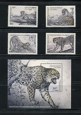 Uzbekistan  1997  #141-5  fauna wild cats panther   set & sheet   MNH  F865