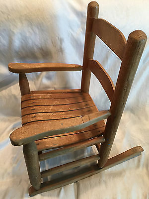 Vintage Kid S Toddler Wooden Rocking Chair Natural Wood Color And